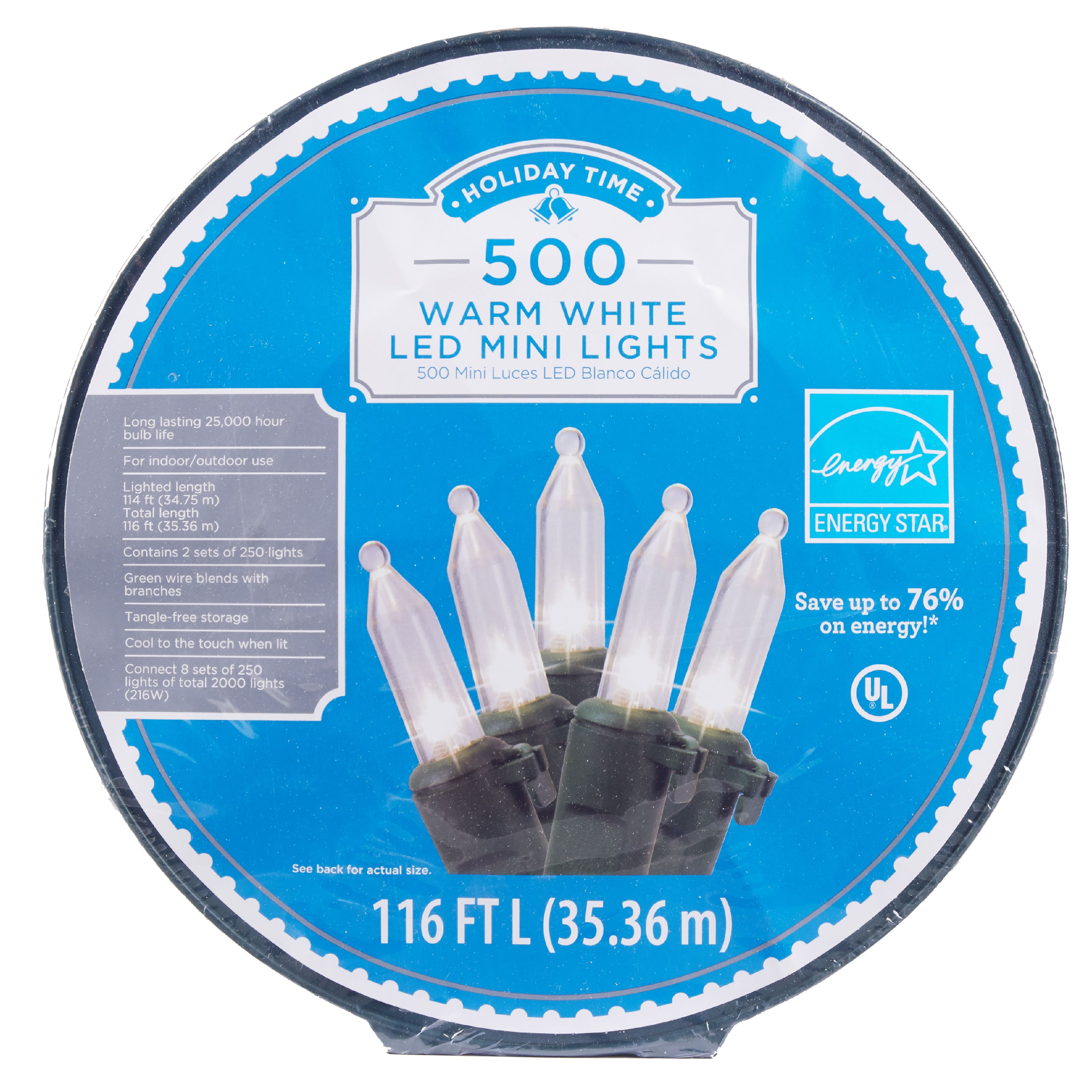 Holiday Time 500ct Warm White LED Mini Christmas Lights (2 sets) by Polygroup Trading