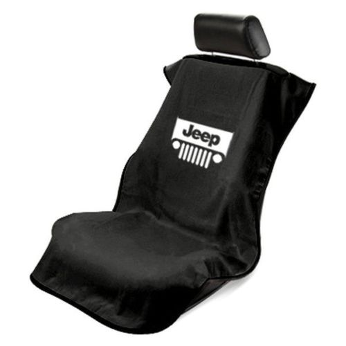 Seat Armour - BLK BLACK Seat Protector Towel Cover With Jeep Grille Logo SA100JEPGB