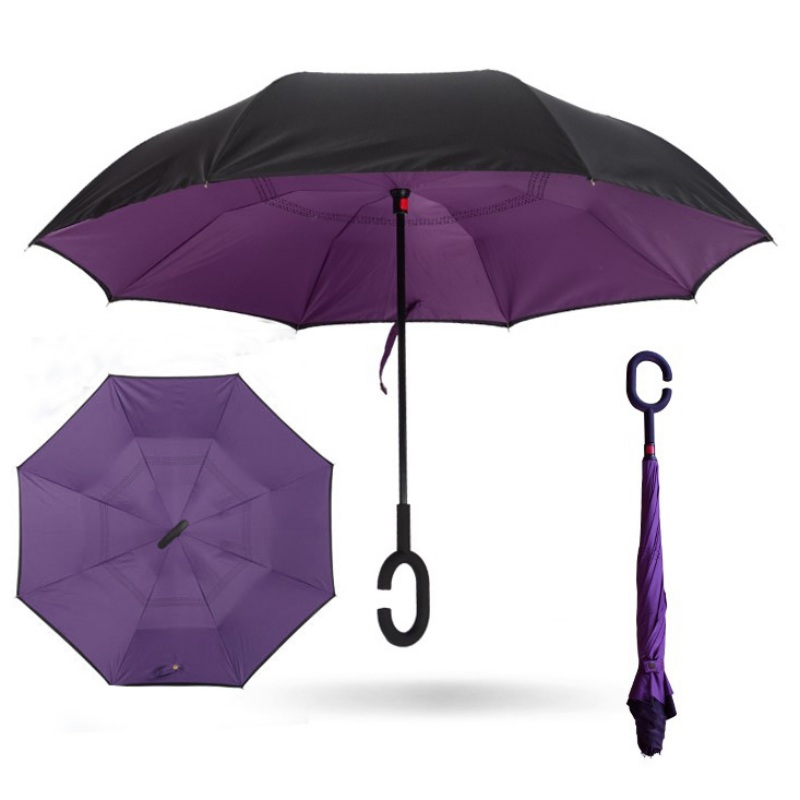 Colorful Lyre Design Double Layer Windproof UV Protection Reverse Umbrella With C-Shaped Handle Upside-Down Inverted Umbrella For Car Rain Outdoor