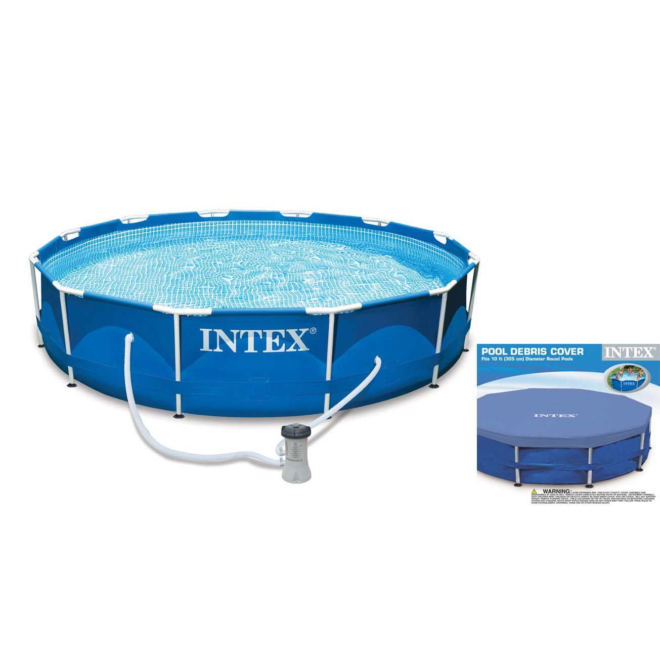 Intex 10 x 2.5 Foot Metal Frame Swimming Pool Set w/ Filter Pump + Debris Cover