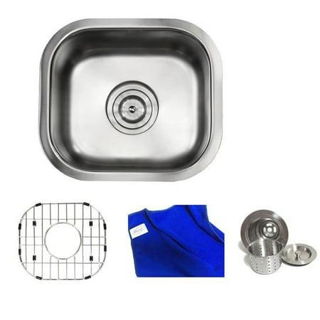 Contempo Living Inc Ariel Pearl Satin 14-inch Premium 18-gauge Stainless Steel Undermount Single Bowl Island/ Bar/ Kitchen Sink Full Accessories - Ariel Premium