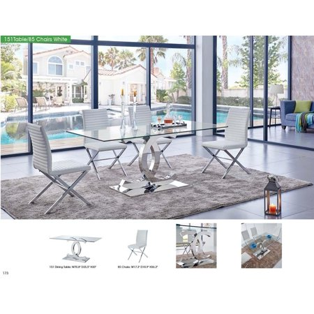 Fantastic Esf 151 Modern Dining Table With Clear Glass Top 85 White Download Free Architecture Designs Scobabritishbridgeorg