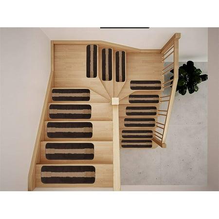 Luxury Stair Tread Treads Indoor Skid Slip Resistant Carpet Stair Tread Treads Geometric Design Machine Washable 8 ½ inch x 30 inch (Set of 13, Stripes Edge Brown) ()