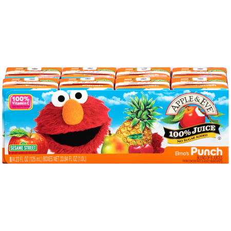 (5 Pack) Apple & Eve Sesame Street 100% Juice, Elmo's Punch, 4.23 Fl Oz, 8 Count](Halloween Punch Pineapple Juice)
