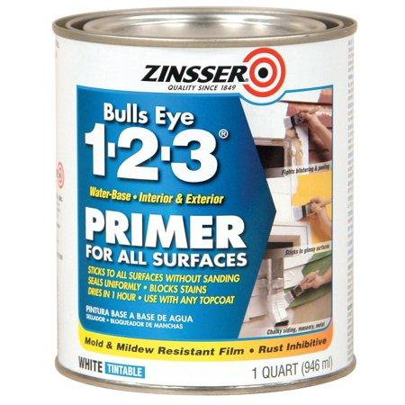Rust-Oleum 2004 Zinsser Bulls Eye 1-2-3 Primer, 1 Quart, 946 ml, White, Suitable for interior and exterior application. Contains a rust.., By