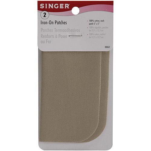 """Singer 5"""" x 5"""" Iron-On Patches, 2pk, Khaki"""