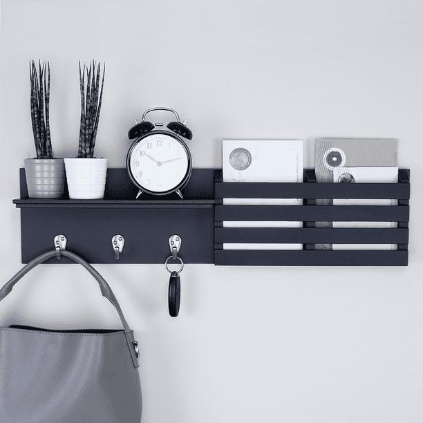 "Ballucci Mail Holder and Coat Key Rack Wall Shelf with 3 Hooks, 24"" x 6"", Black"