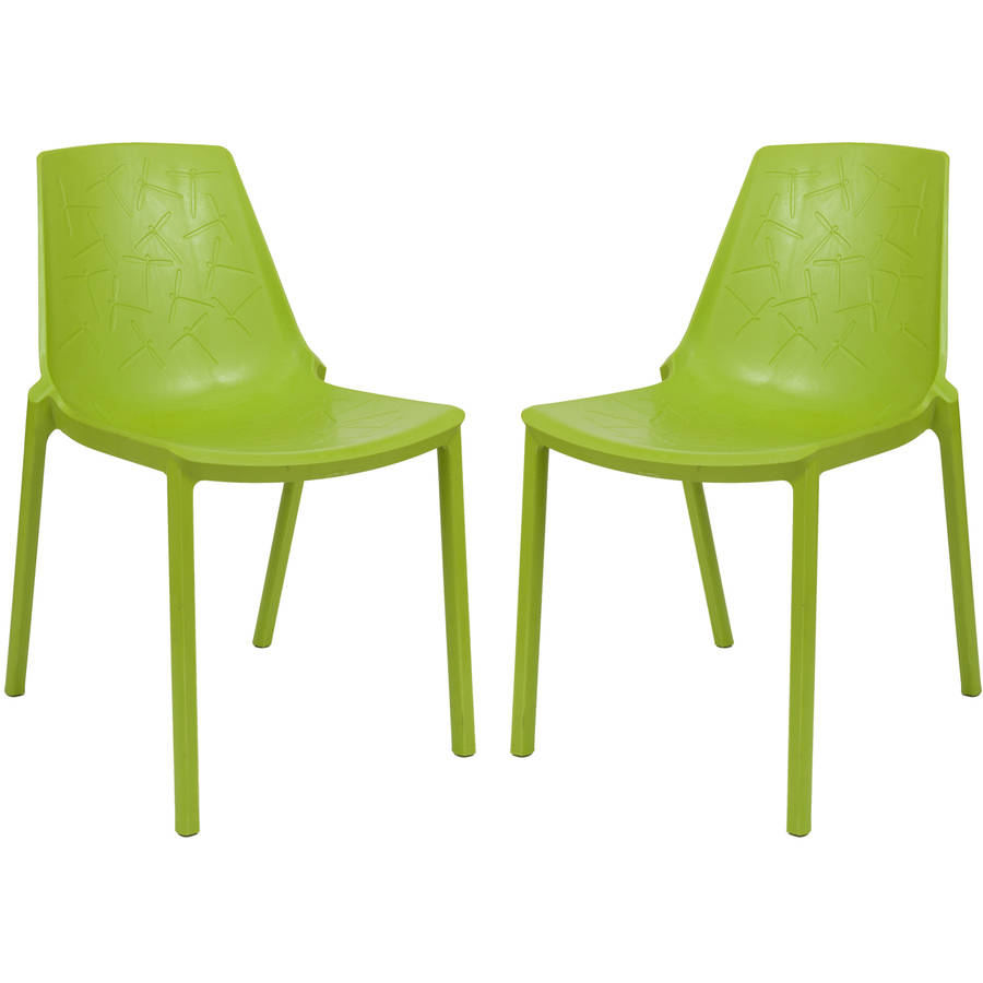 LeisureMod Modern Clover Dining Chair in Green, Set of 2