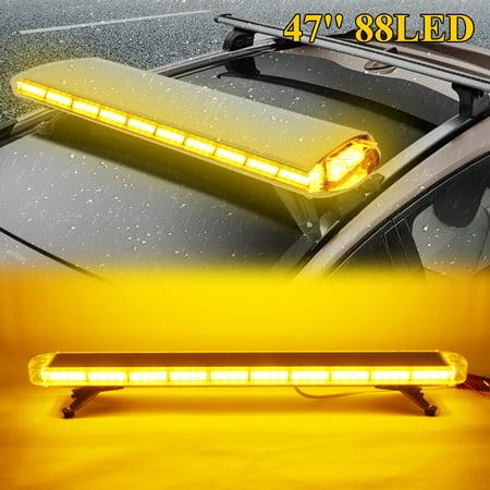 88 LED Car Truck Roof Top Strobe Light Bar Beacon Amber Emergency Vehicle Flashing Warning Work Lamp 47'' 88W (Light Bars For Trucks Amber)