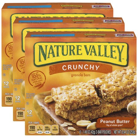 (3 Pack) Nature Valley Granola Bars Crunchy Peanut Butter (Total 12 Bars)