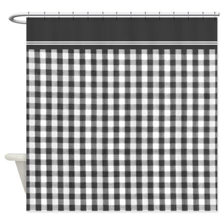 CafePress - Black And White Gingham - Unique Cloth Shower Curtain (Gingham Shower Curtains)