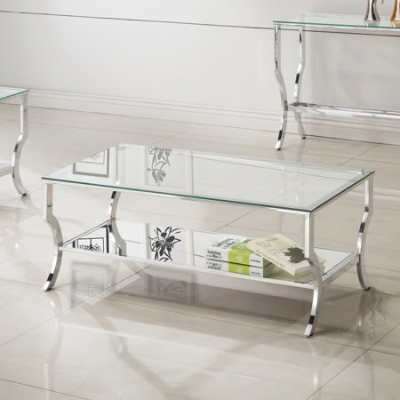 Coaster 720338-CO Glass Top Coffee Table, Chrome Monaco Coffee Table Set