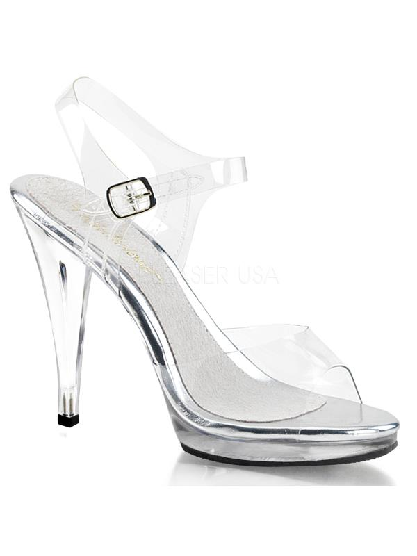 "FLA408/C/M Fabulicious Shoes 4 1/2"" Size: Flair CLEAR Size: 1/2"" 7 264eb9"