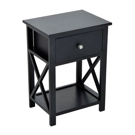homcom 22 traditional wood accent end table with storage drawer black. Black Bedroom Furniture Sets. Home Design Ideas