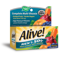 Alive! Men's 50+ Complete Daily Multivitamin Supplement, 50 ct