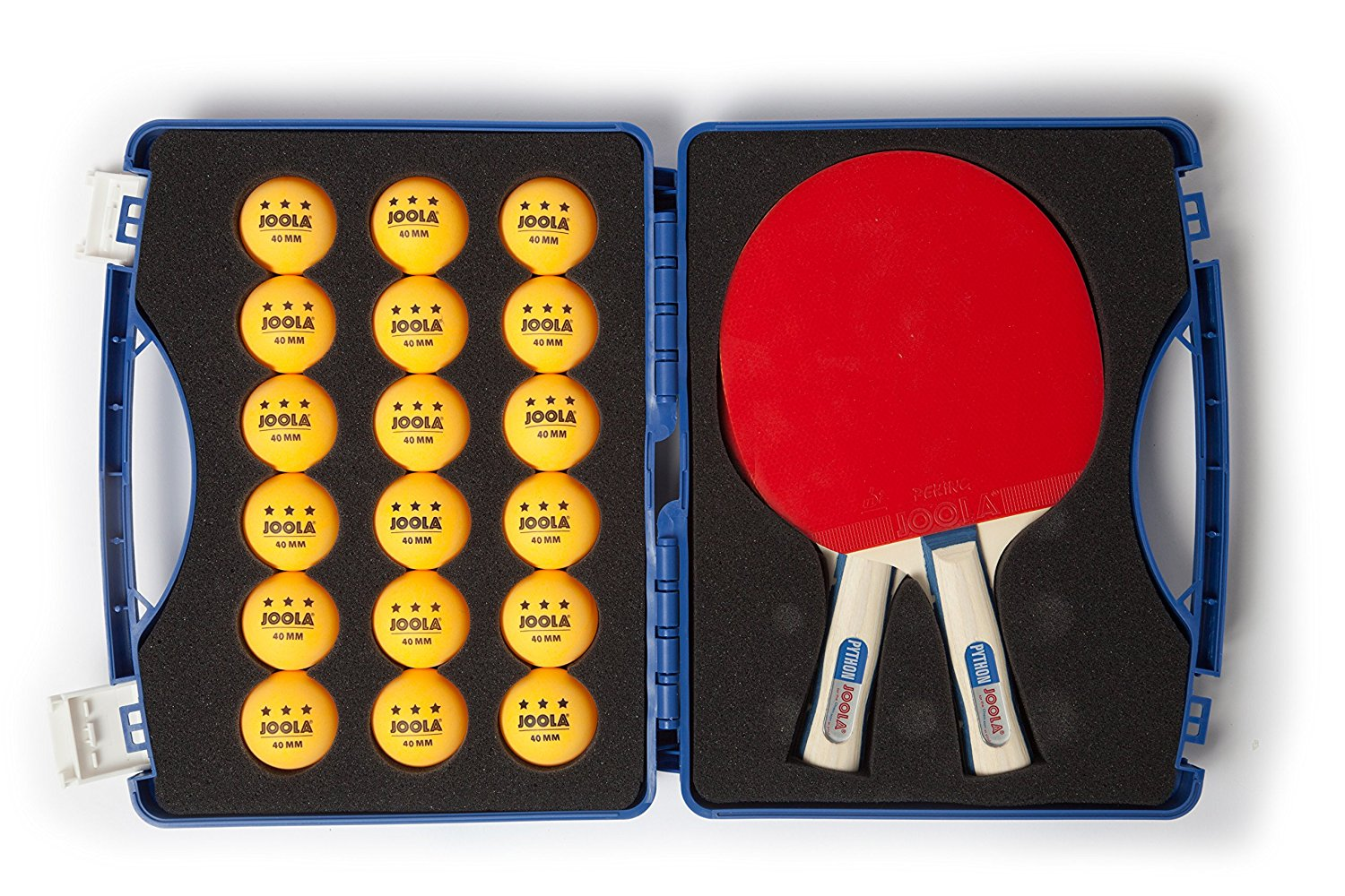 Joola Competition Table Tennis Tour Case (Includes Two Python Rackets and 18 3 Star Balls)