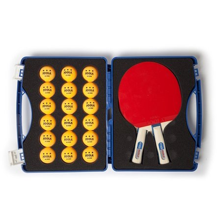 JOOLA Tour Competition Official Size Table Tennis Case, 2ct Python Paddles and 18ct 40mm 3-Star Competition Ping Pong Balls
