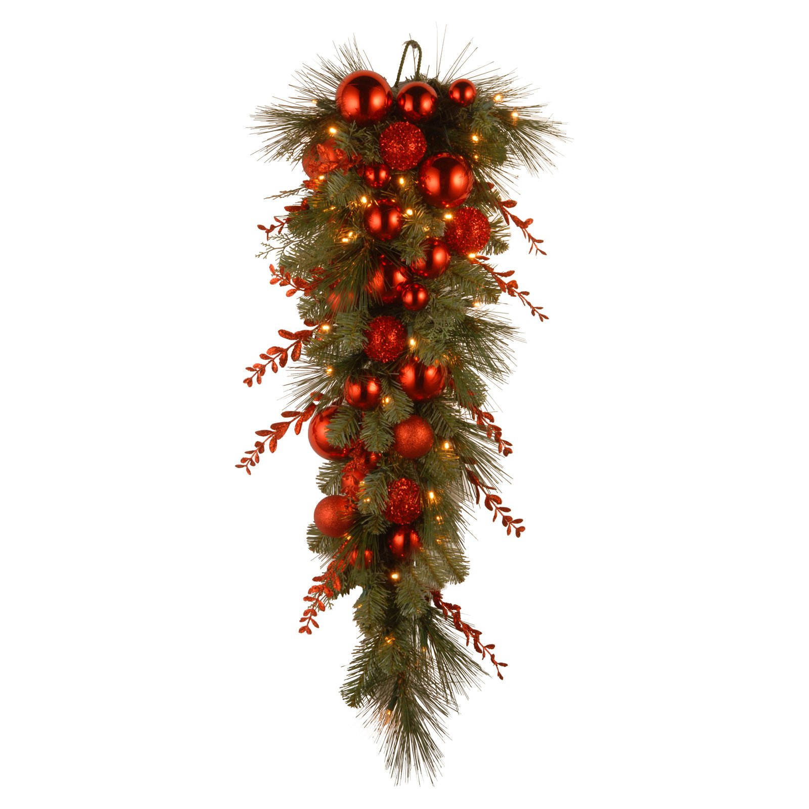 "National Tree 36"" Decorative Collection Christmas Red Mixed Teardrop with 50 Warm White Battery Operated LEDs with Timer"