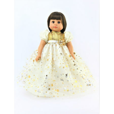 "Gold and Silver Star Dress   -Fits 18"" American Girl Dolls, Madame Alexander, Our Generation, etc. 
