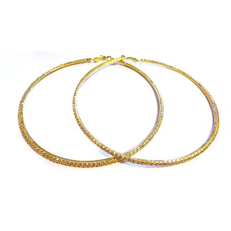 Large 4 Inch Hoop Earrings Crystal Rhinestone Gold Tone