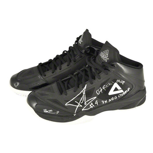 NBA - Tony Parker San Antonio Spurs Autographed Black Peak Sneakers with 3X NBA Champ and 07 Finals MVP Inscriptions-Limited Edition of 3