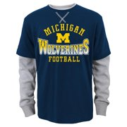 "Michigan Wolverines Youth NCAA ""Arched Fade"" L/S Faux Layer Thermal Shirt"