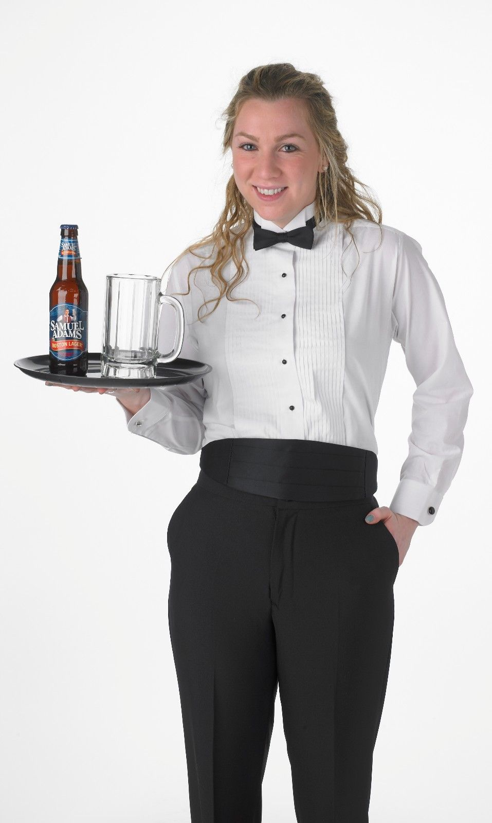 BONUS Black Bow Tie NEW Premium Men's Tuxedo Long Sleeve Shirt Wing-Tip Collar