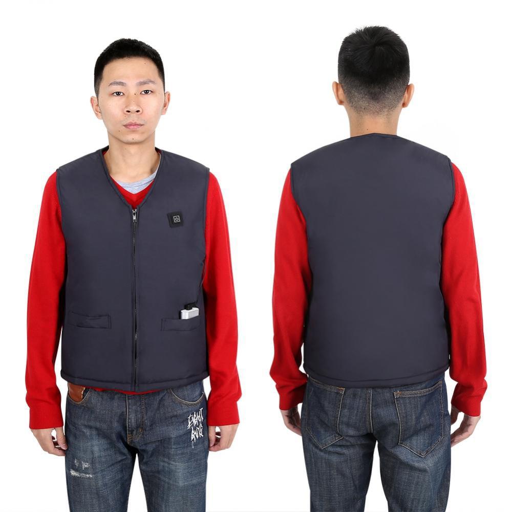 S-3XL Men Heated USB Sleeveless Vest Jacket heating Wind Resistant Coats Warm