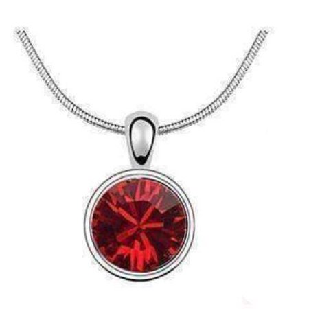 ON SALE - Round Ruby Red IOBI Crystals Necklace Red