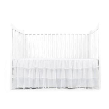 Geometric Crib Skirt (Tadpoles Triple-Layer Tulle Crib Skirt, White )