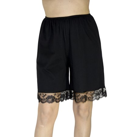 Underworks Pettipants Cotton Knit Culotte Slip Bloomers Split Skirt 9-inch Inseam 2-PACK