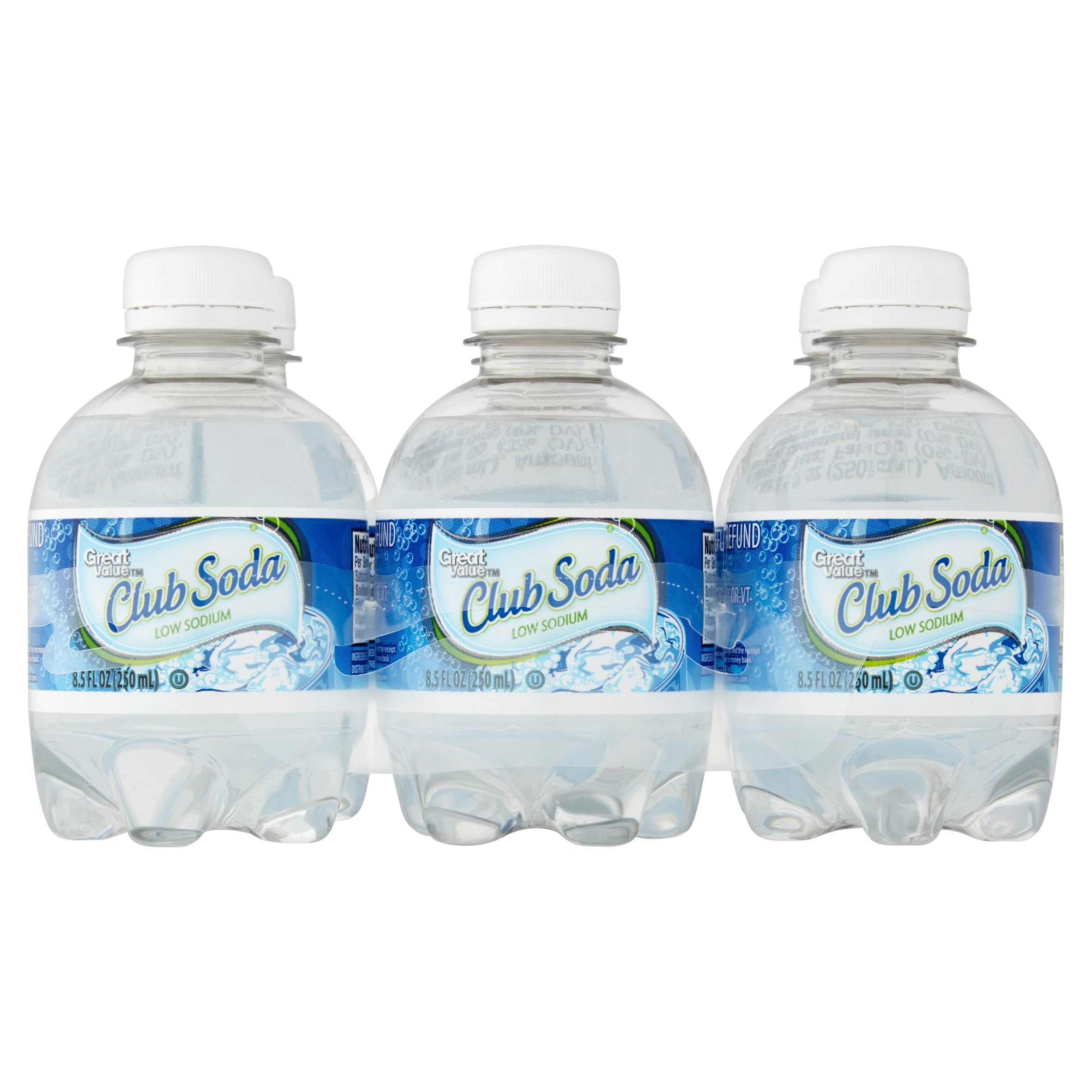 Great Value Club Soda Beverage, 8.5 fl oz, 6 pack