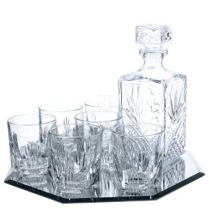 8-Piece Selecta Whiskey Drinkware Barware Drink Set with 6 Glass Double Old Fashioned Glasses, Silver-Plated Octagon Mirror Tray and Decanter