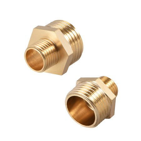 """Brass Pipe Fitting, Reducing Thread Hex Nipple, 1/4"""" x 1/2"""" G Male Pipe Brass Fitting Gold Tone, 10pcs - image 3 of 4"""