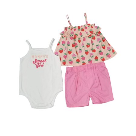 Infant Girls Baby Pink Strawberry Shirt  Sweet Girl Body Suit Outfit Set - Strawberry Shortcake Outfits