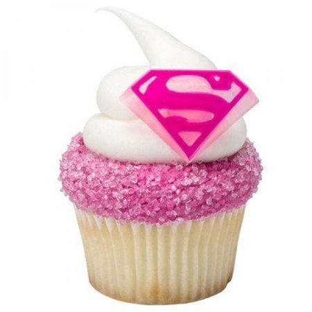 Supergirl Shield Cupcake Rings - 24 - Supergirl Decorations