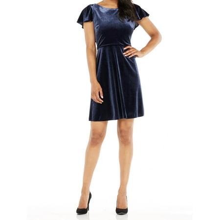Maggy London Chiffon Dress - Maggy London NEW Navy Blue Womens Size 12 Velvet Ruffle Sheath Dress