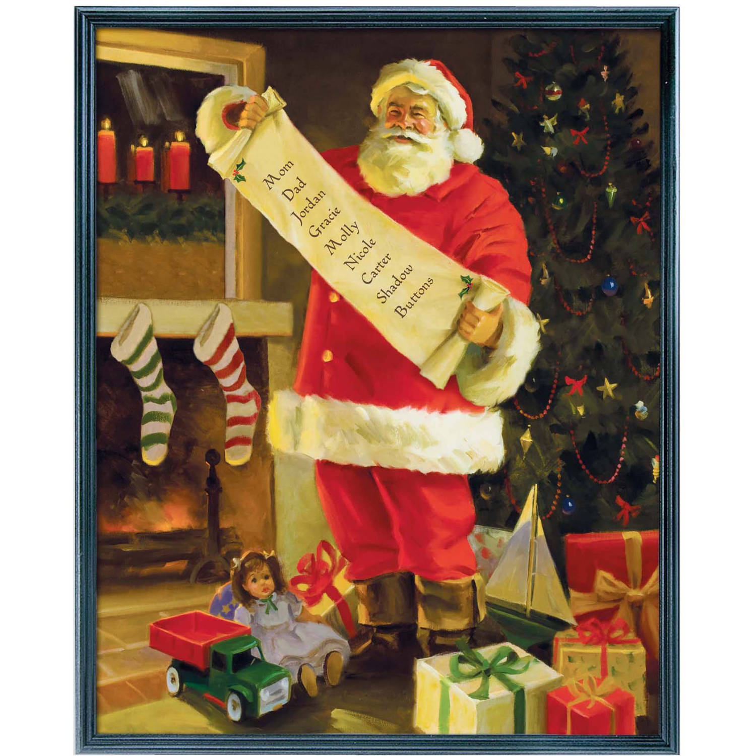 Personalized Santa's List Canvas Wall Décor, Available in Multiple Sizes