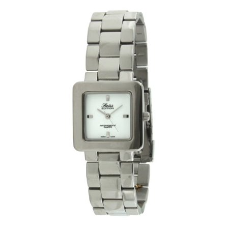 Men's Silver Luxury Square Link Bracelet White Dial Watch SE3813M-WT