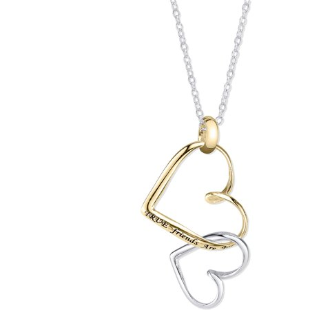 Sterling Silver Two Tone  True Friends Are Joined At The Heart  Necklace  18