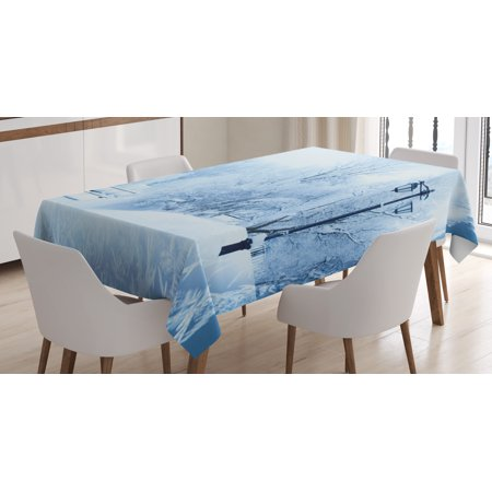 Winter Tablecloth, Winter Trees in Wonderland Theme Christmas New Year Scenery Freezing Icy Weather, Rectangular Table Cover for Dining Room Kitchen, 60 X 84 Inches, Blue White, by - Winter Wonderland Themed Events