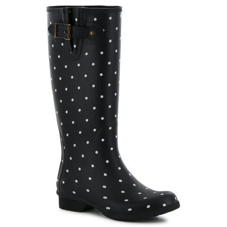 Chooka Women's Tall Memory Foam Rain Boot, Black, Size