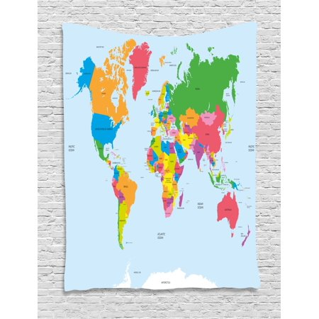 Map Tapestry  Classical Colorful Map Of World In Political Style Travel Europe America Asia Africa  Wall Hanging For Bedroom Living Room Dorm Decor  40W X 60L Inches  Multicolor  By Ambesonne