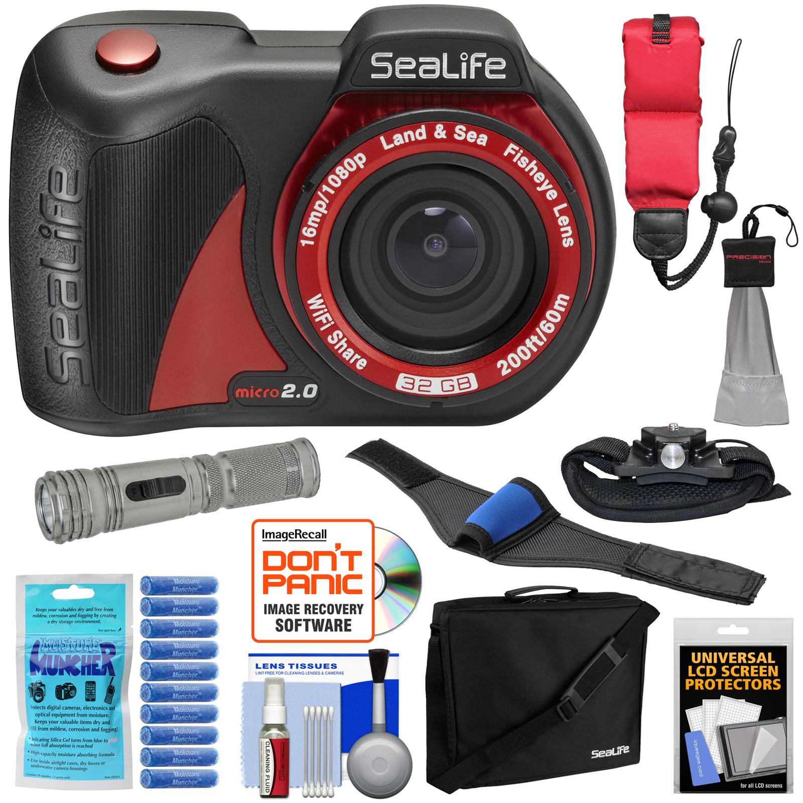SeaLife Micro 2.0 32GB Wi-Fi Underwater Digital Camera with Case + LED Torch + Straps + Silica Gel + Kit