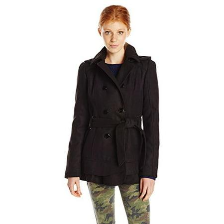 Celebrity Pink Juniors' Faux Wool Blend kirted Coat, Jet Black, Medium ()