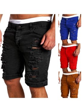 Mens Jeans Slim Fit Straight Skinny Fit Denim Trousers Casual Shorts Pants