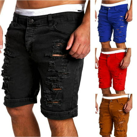 Mens Jeans Slim Fit Straight Skinny Fit Denim Trousers Casual Shorts (Men Pants 3/4 Length Shorts)