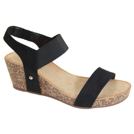 Norie Women Platform Wedge Low Heel Elastic Strap Band Slingback Sandal Black