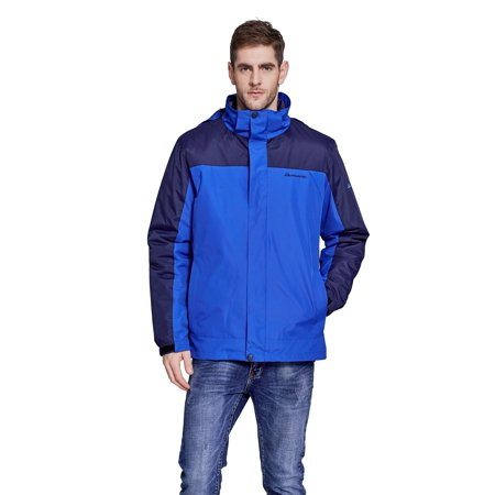 Men's 3-IN-1 MOUNTAIN LIGHT HOODED JACKET 3 in 1 Windbreaker Winter Jackets with Hood & Removable Inner Fleece Lining - LARGE (Patagonia Mens Tres 3 In 1 Parka)