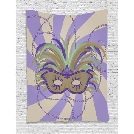 New Orleans Tapestry, Classic Masquerade Mardi Gras Mask Design on Swirled Bicolor Stripes Background, Wall Hanging for Bedroom Living Room Dorm Decor, 40W X 60L Inches, Multicolor, by - Orleans Swirls